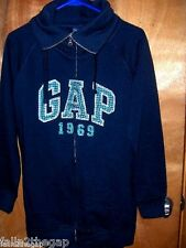 WOMEN SIZE SMALL* GAP * BLACK SWEAT JACKET LOGO LETTERS   ZIP UP COWL NECK  NWT
