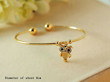 Fashion Women's Owl Rhinestone Cuff Silver Gold Charm Bracelet Bangle Jewelry