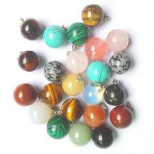 wholesale Fashion mixed natural stone 20pcs round ball shape charm pendants kit