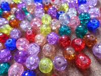 50 x Crackle Glass Rounds Beads - 8mm - Mixed Colour