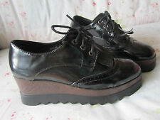 LADIES PATENT BLACK FRINGES BROUGES PLATFORM SHOES SIZE5 38 WEDGES HEELS LACE UP