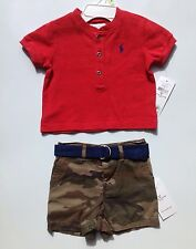 Ralph Lauren Polo Baby Boys Two Piece Shirt and Short Set Size 3 Months
