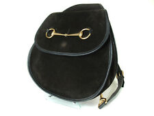 Authentic GUCCI GG Black Suede, Leather Dark Brown, Black Shoulder Bag GS0550