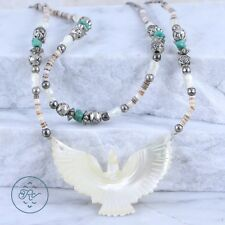 "Sterling Silver PLATED - SOUTHWESTERN MOP Dove Beaded 23.1g - Necklace (22"")"