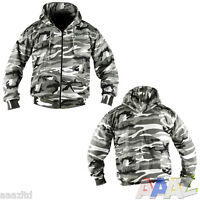 MENS ARMY HOODIE FULL ZIP JACKET CAMO FLEECE LINED HOODY AIRSOFT URBAN CAMO