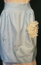 Vintage Light Blue Cotton Apron with Embroidered Lily of the Valley Flowers