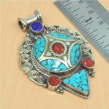 925 TIBETAN SILVER VINTAGE NATURAL TURQUOISE,RED CORAL PENDANT JEWELRY D05522