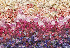 Giant paper wallpaper 368x254cm Wall made of flowers pink red bedroom wall mural
