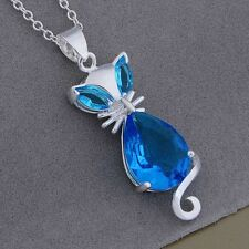 925 sterling Silver jewelry fashion women cat crystal charms cute necklace