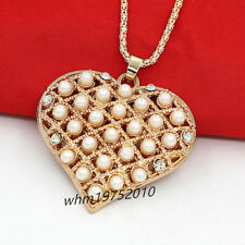 Charm Womens Big Heart Full Pearl Crystal Pendant Necklace Long Sweater Chain