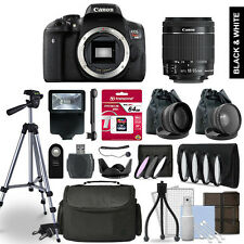 Canon EOS Rebel T6i Digital SLR Camera 3 Lens Kit + 64GB Multi Accessory Bundle