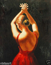 "Oil Painting On Stretched Canvas 12""x 16"" ~  Dancer in Red"