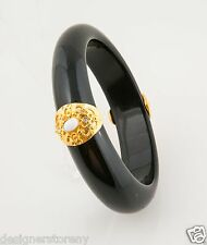 Kenneth Jay Lane black w/satin gold white resin bangle bracelet 7944BBW