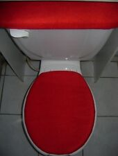 SOLID RED Fleece Fabric - Toilet Seat Lid & Tank Cover Set