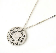 Lover Gift Romantic Words Full Love Heart in The Coin Pendant Necklace Chain
