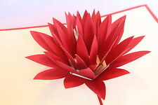POP UP card - beautiful Lotus /Prota flower (birthday thank you,get well, blank)