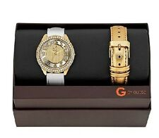 Guess G94068L1 Gold White Leather Interchangeable Bands Dial Womens Watch