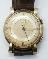 Vintage Antique LeCoultre 10k Gold Filled Mens Alarm Leather Wrist Watch
