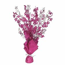 """16"""" Happy 70th Birthday Pink Sparkle Foil Weight Table Centerpiece Decoration"""