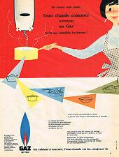 PUBLICITE ADVERTISING 094  1957  GAZ DE VILLE   eau courante chaude