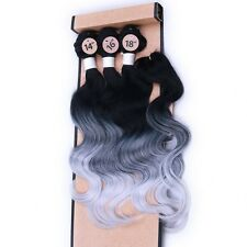 3Bundles  Body Wave With Closure Ombre Gray Hair Weave Synthetic Hair Extensions