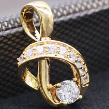 Charm Rhinestones Note Pendant White Crystal Zircon 18k Gold Plated Jewelry