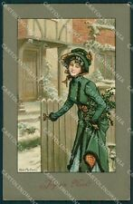 Lady Christmas Greetings Alice Martineau Hollyer MM Vienne 284 postcard QT6859