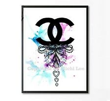 "Coco Chanel BLUE and PINK  Poster Print HOME  Decor Art 7"" x 5"""