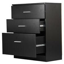 Black Wood 3 Drawer Office Filing Cabinets File Storage Chest Cabinet Cupboard