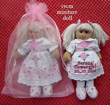 PERSONALISED MINIATURE RAG DOLL 20CM FLOWERGIRL BRIDESMAID & GIFT BAG WEDDING