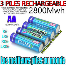 3 PILES ACCUS RECHARGEABLE AA 2800Mwh LITHIUM Li-ion 1.5V KENTLI R6 R06 LR06 LR6
