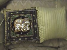 Decorative TWO Small Square Throw Pillows (one plain & one design).