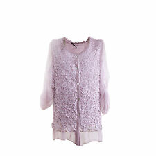 Ladies Lagenlook Italian Dusky Pink Silk & Lace & Chiffon Sequin One Size Blouse