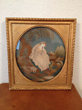 Antique 19th Century Silk Needlework Memoriam Memorial of Woman w/ Dog