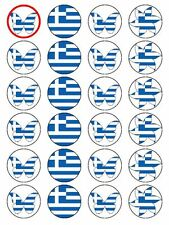 X24 GREEK / GREECE NATIONAL FLAG CUP CAKE TOPPER DECORATION ON EDIBLE RICE PAPER