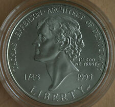 1993 Thomas Jefferson 250th BU Silver Dollar Commemorative US Mint Coin ONLY