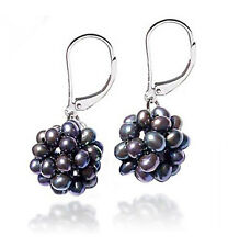 Unique! .925 Sterling Silver Gray Pearl Leverback Earrings Snowball Design NR