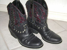 REBA 6 M cowboy western shorty ankle boots black wine studded accents leather