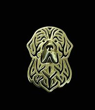 Newfoundland Dog Brooch or Pin -Fashion Jewellery Gold Plated, Stud Back