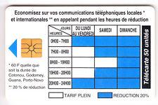 AFRIQUE TELECARTE / PHONECARD .. BENIN 50U GEM1A TARIFS 11/94 LOGO2 CHIP/PUCE