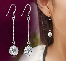 925 silver earrings 8mm crystal ball ear drop fashion jewelry Christmas gift