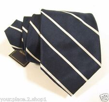 Polo Ralph Lauren Navy Blue & Silver Striped Silk Tie Hand Made in Italy $125
