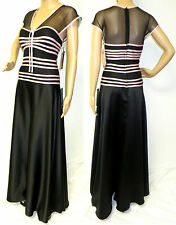 NWT $148 JS COLLECTIONS  BLACK SHEER MESH PINK SATIN PARTY EVENING DRESS GOWN 10