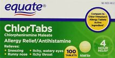 Equate Chlortabs Allergy Relief Antihistamine 100 Tablets New/Sealed