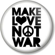 "Make Love Not War 25mm 1"" Pin Button Badge Ban the Bomb Sign Hippie Peace Symbol"