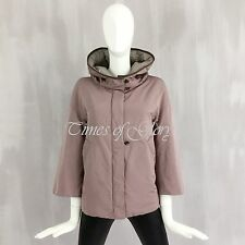 Brunello Cucinelli Leather Trim Pinky Grey Goose Down Puffer Jacket Size S IT42