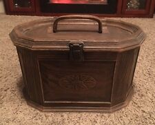 Vintage Lerner Sewing Basket Box Chest Plastic Faux Woodgrain with Insert