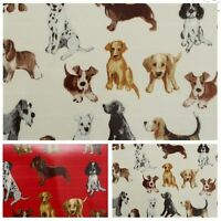 Dog Print Pattern PVC Oilcloth Tablecloth Covering Kitchen Wipeclean Fabric