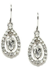 ACCESSORIZE~ SILVER TONE, INNER PEARL CRYSTAL STATEMENT EARRINGS