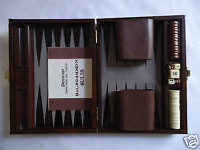 PRESSMAN TRAVEL BACKGAMMON GAME Brown Case Magnetic Pieces COMPLETE VINTAGE SET